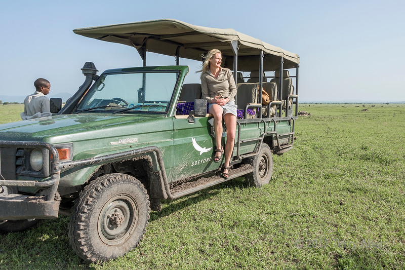 Safari lunch break with Land Cruiser and distant Cape buffalo, Grumeti Game Reserve, Serengeti, Tanzania