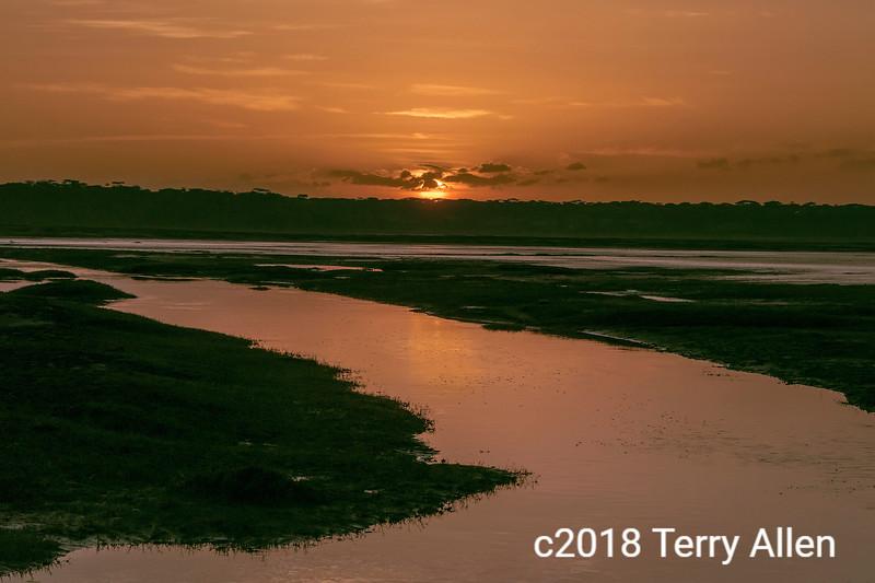 Rising sun after the flood, Lake Ndutu, Tanzania