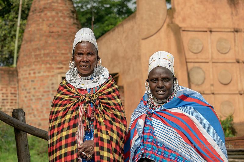 Portrait of two Maasai women elders in traditional attire, Ngorongoro Crater Lodge, Tanzania
