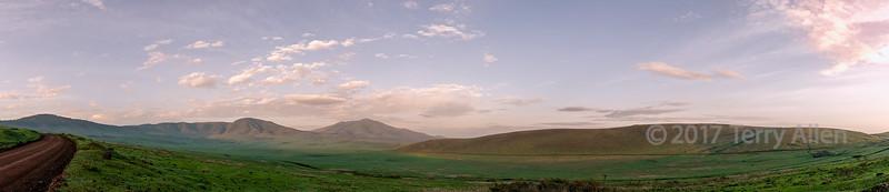 Panorama, Ngorongoro Caldera rim road looking east torwards Mt  Lemakarot early morning, Tanzania