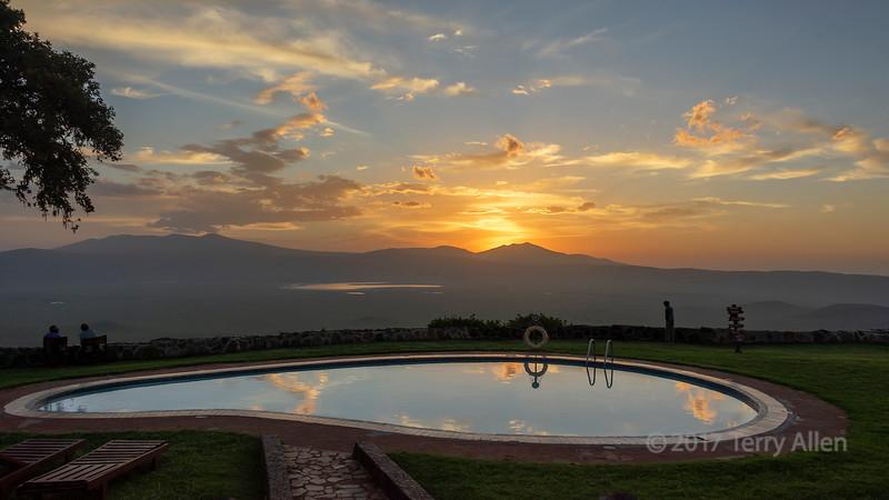 Sunrise by the pool, Ngorongoro Sopa Lodge, Ngorongoro Caldera, Tanzania