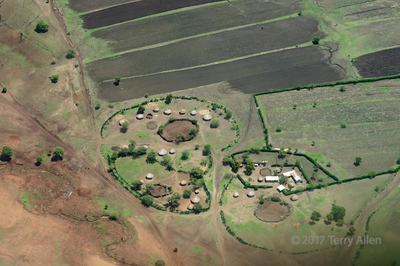 Bomas and fields, Mondli region west of Arusha, Tanzania