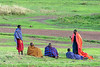 Maasai warriors in their colourful robes hanging out on the new grass, Ngorongoro Conservation Area, Tanzania