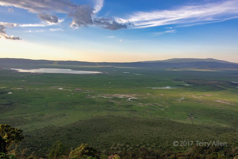 Ngorongoro Caldera looking east towards the crater rim and the Munge River, Tanzania