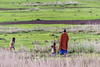 Maasai woman and children walking acoss the fields, Ngorongoro Conservation Area, Tanzania