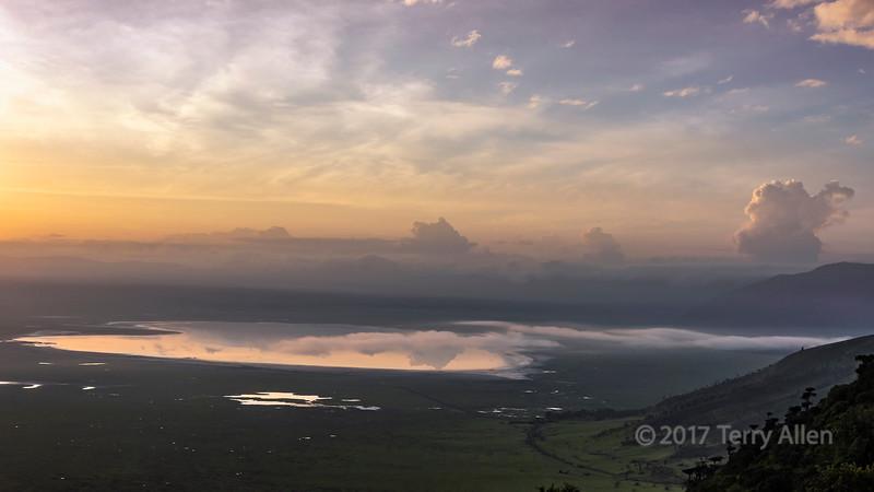 Sunrise with mists over Lake Magadi, Ngorngoro Caldera, Tanzania