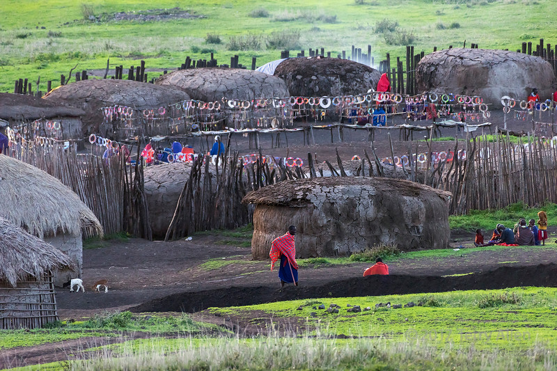 Maasai boma with mud and cow dung huts and beaded necklaces for sale, Ngorongoro Conservation Area, Tanzania
