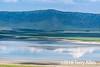 Lake Magadi with reflections and (tiny) flamingos, Ngorongoro crater, Tanzania