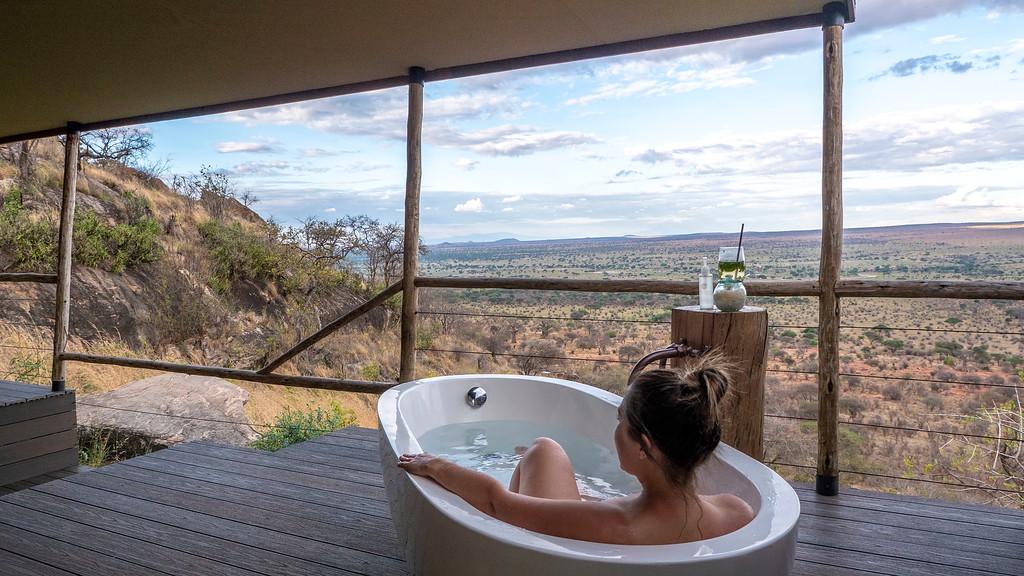 Luxury Safari in Tanzania: Lemala Mpingo Ridge Lodge Outdoor Bathtub
