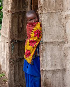 Young Maasai girl being camera shy