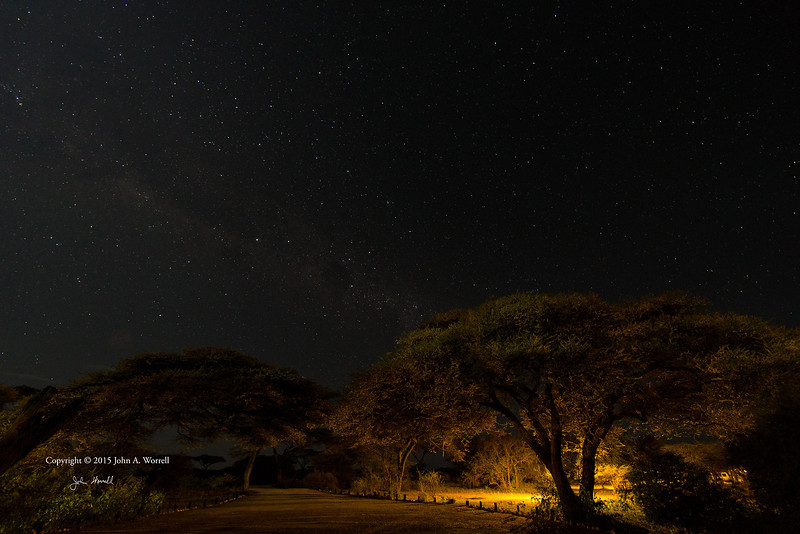 Night sky from Ndutu Safari Lodge. Looking south at Southern Cross and Milky Way. 14Feb2015 by John A. Worrell
