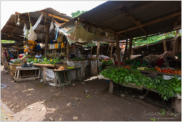 Walking thru alleys at fresh market in Mto wa Mbu, Tanzania