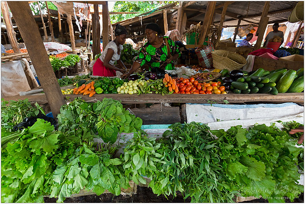 Local fruit and vegetable market in Mto wa Mbu, Tanzania