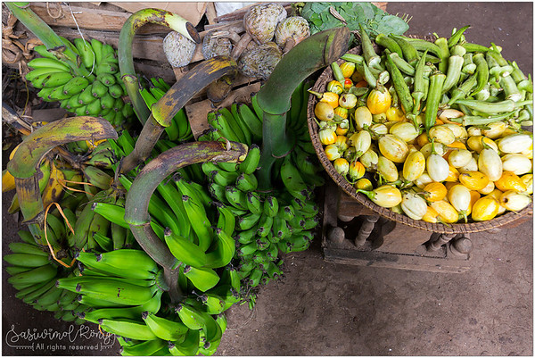 Local Bananas, Custard apples, Okra, Garden eggs (eggplants)