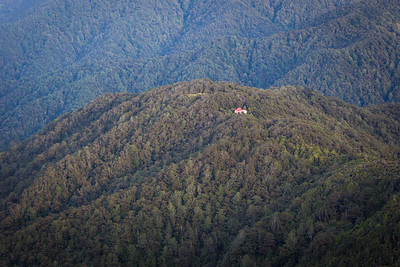 Te Matawai Hut and beech covered ridges, Tararua Range