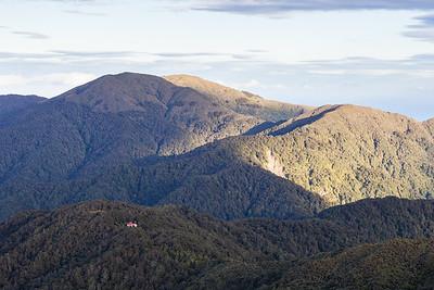 Te Matawai Hut with Richards Knob and Twin Peak, Tararua Range