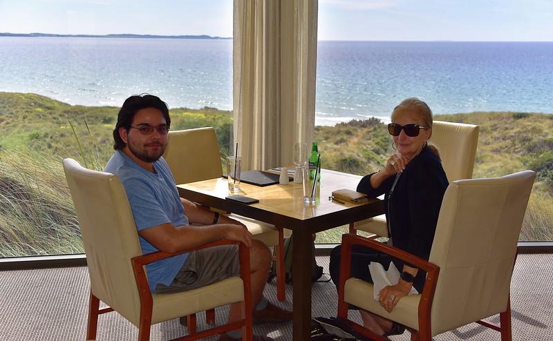 Zac and Doe, Barnbougle Golf Links restaurant. Overlooking Bass Strait.