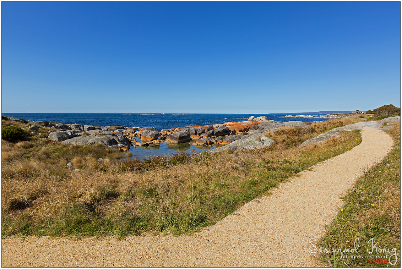 Smooth path along Bay of Fires with beautiful scenic view