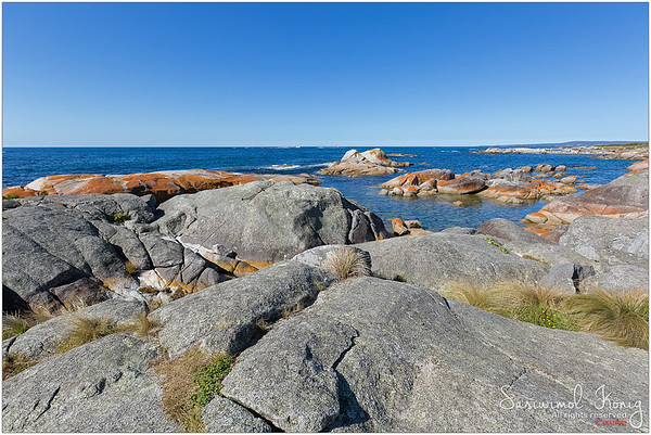 Rocky coastline at Bay of Fires, Tasmania, Australia