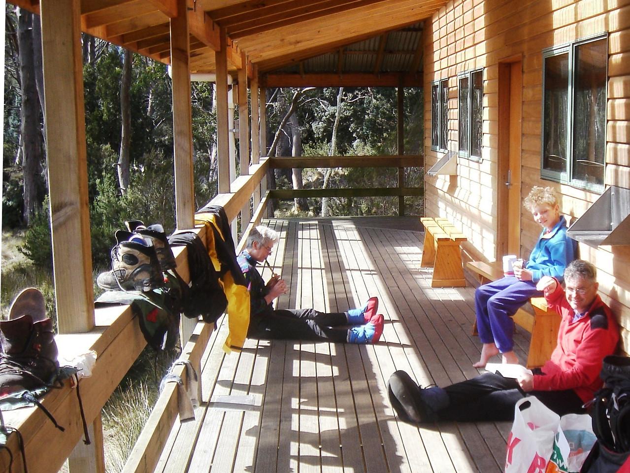Kicking back at Pelion Hut