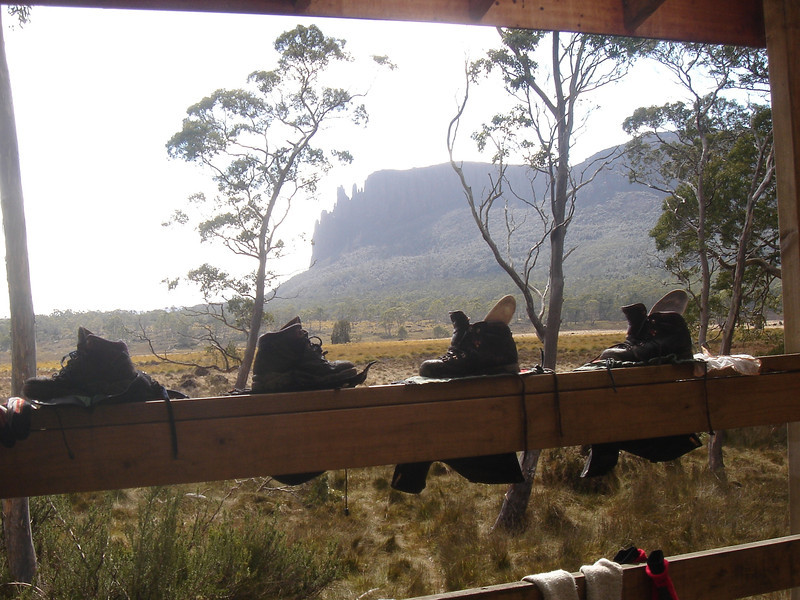 Drying boots at Pelion Hut