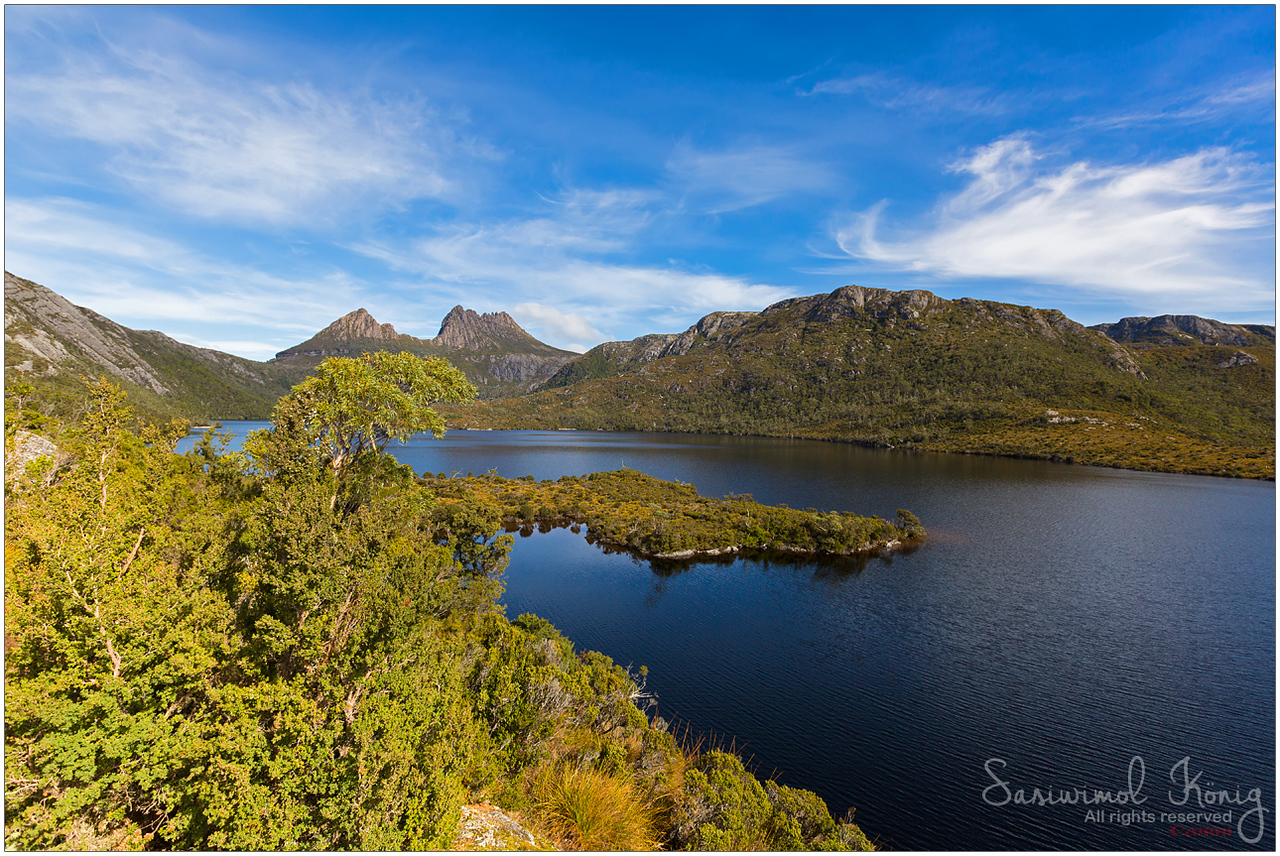 Cradle Mountain, view from Glacier Rock, across Dove Lake