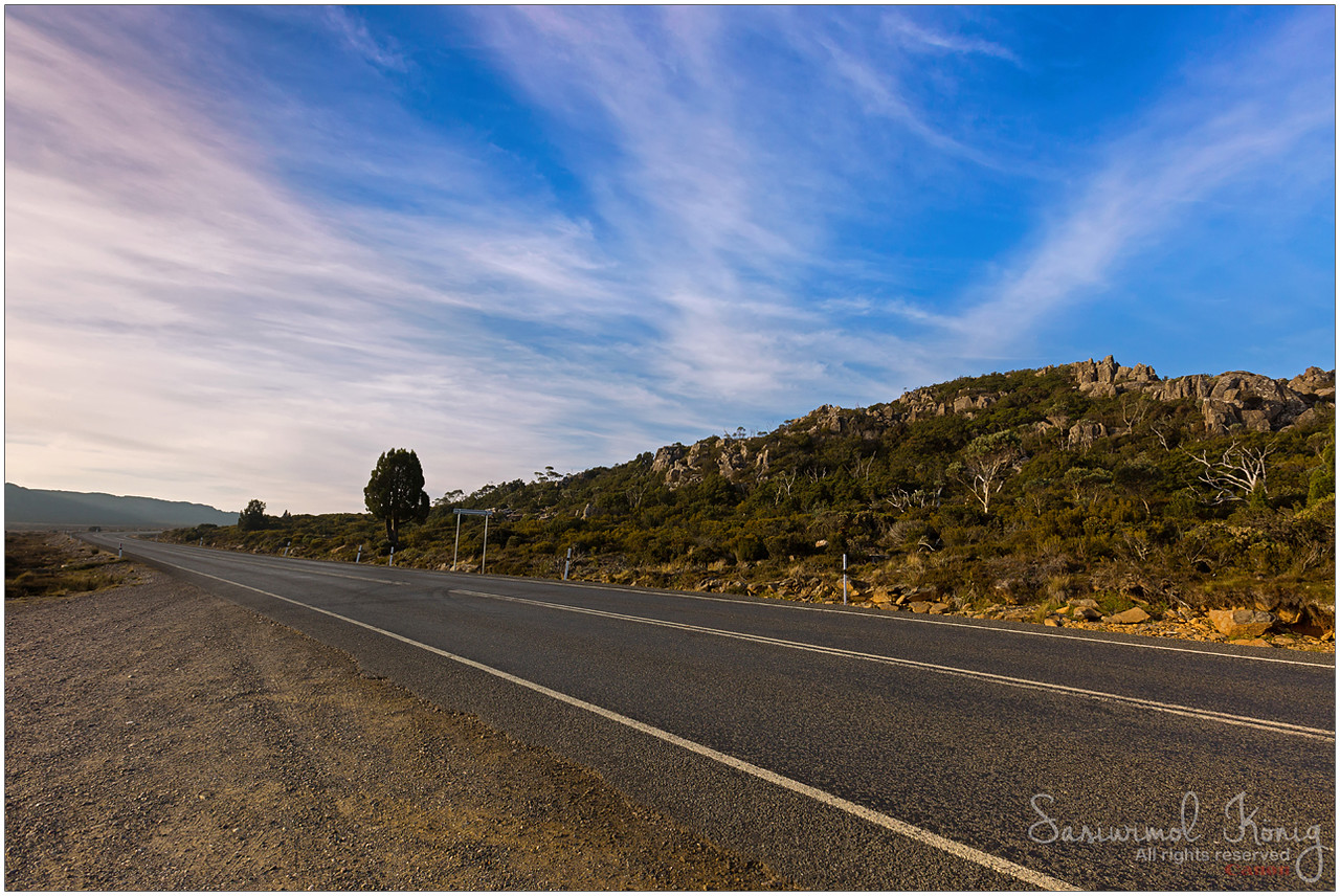 Highland Lakes Road at Pine Lake area, Central Plateau in Tasmania