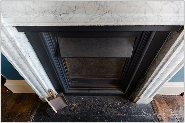 Marble Fireplace in a dining room