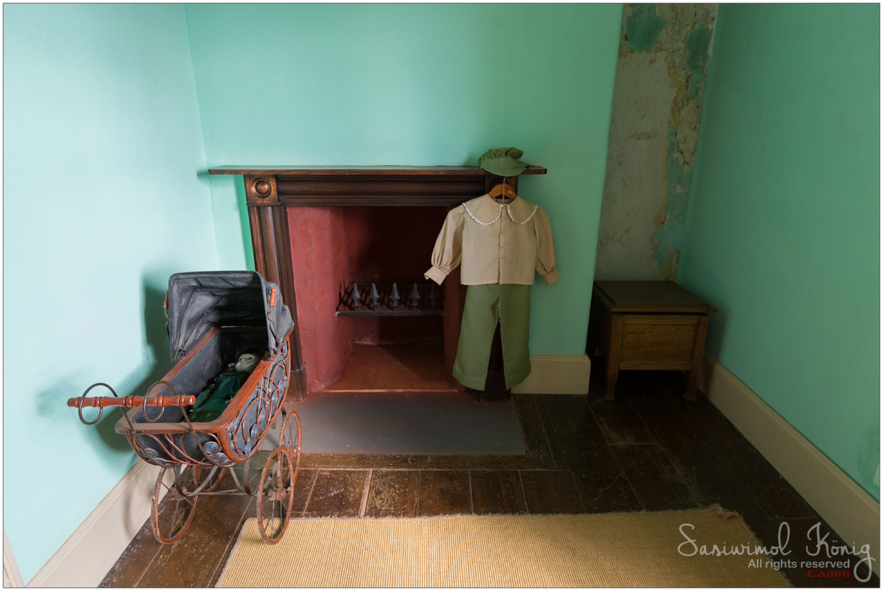 Children's Bedroom at Highfield House. Can spot a young boy's clothes hanging from the fireplace.
