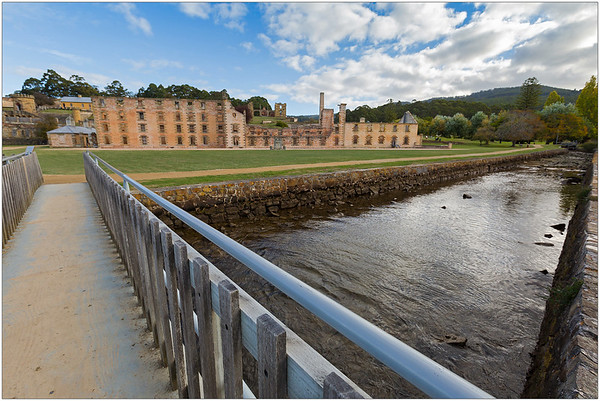 Crossing the Radcliffe Creek, heading to the old penitentiary at the Port Arthur Historic Site