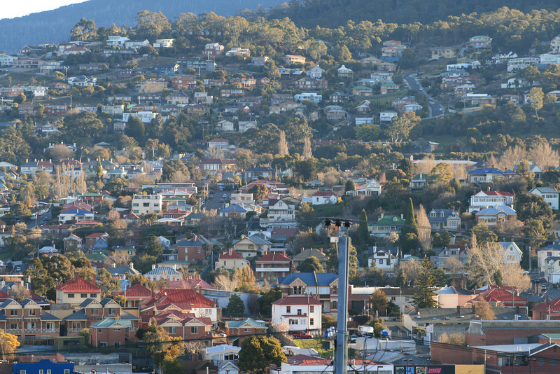 West Hobart from the Domain