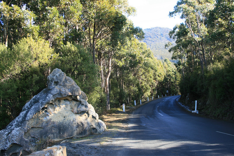 """The Eye"" on Pinnacle Road, Kunanyi (Mt Wellington).  For years, the triangular stone used to have an eye painted onto it."