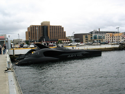 """Sea Shepherd's """"Ady Gil"""" berthed in Hobart, 30 November 2009.  It has since been seriously damaged whilst trying to interfere with illegal whaling activities conducted by the Japanese in Antarctica."""
