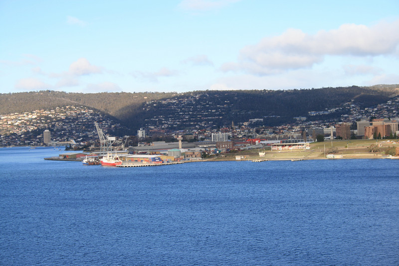 View from the top of the Tasman Bridge of the Regatta Grounds, Macquarie Wharf (where they want to site the new Royal Hobart Hospital, FFS!), and across to the Wrest Point Casino.