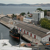 "Sea Shepherd's ""Steve Irwin"" tied up at Princes Wharf, Hobart to refuel and resupply before continuing its pursuit of the Japanese whaling fleet."
