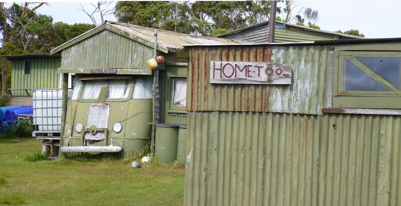 A very rustic shack at Pieman Heads