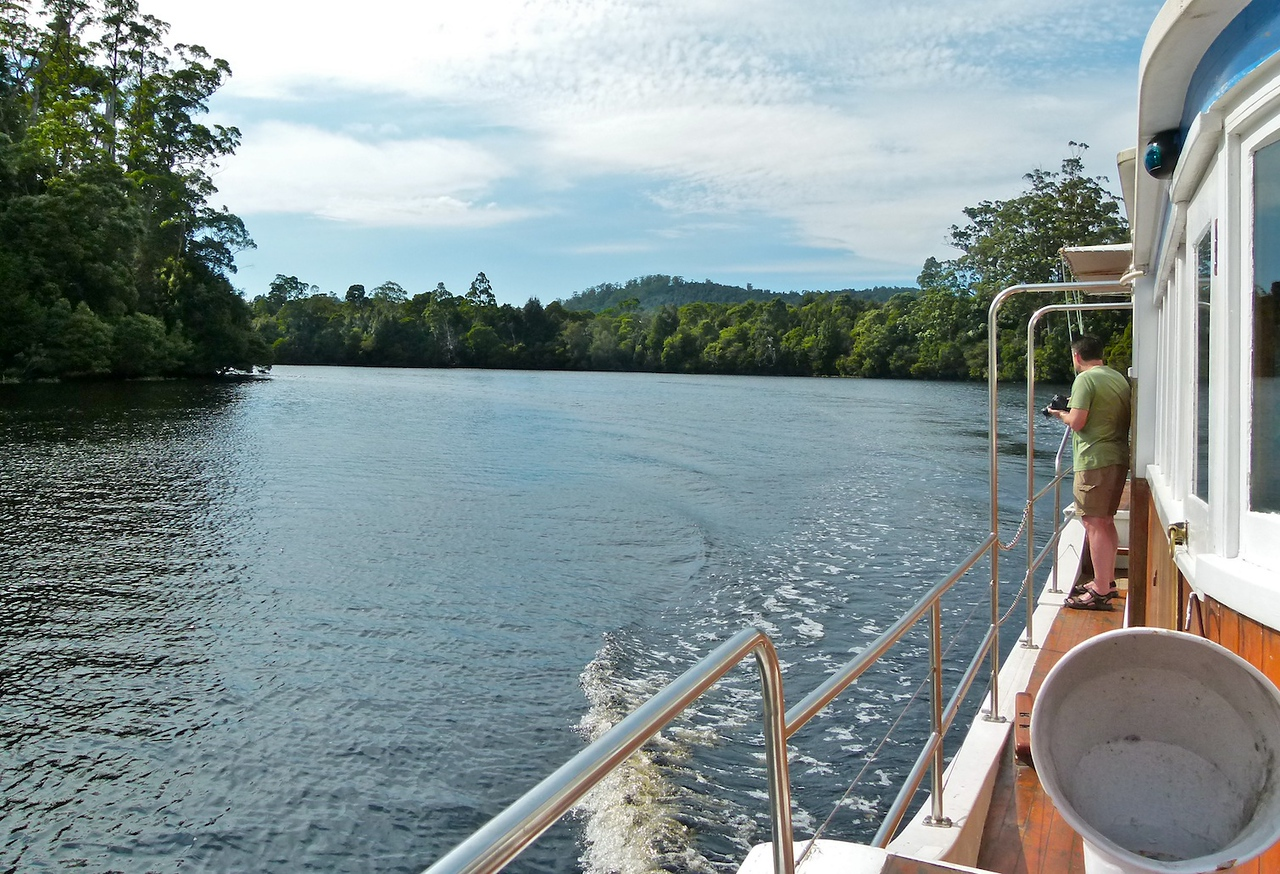 View back along the Pieman from the bow of the Arcadia II