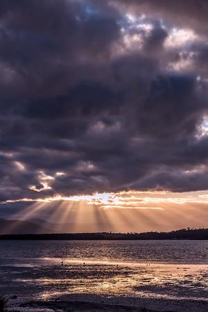 Beautiful sun rays in Tasmania.