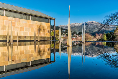 Reflection of Mount Wellington at Islington Hotel.