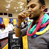 Sampling a drink from Berkshire Mountain Distillers, Inc., is Srikant Sarangi of Boston. Nashoba Valley Voice/David H. Brow