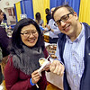 Judy and Larry McDermott of Groton, try out the sample from Lucia's Tavola at the Taste of Nashoba Valley event. Nashoba Valley Voice/David H. Brow