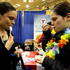 Locals trying the ice cream made on the spot at the SubZero table, L-R, Diana Tamburri of Clinton, and Amanda Brady of Ayer. Nashoba Valley Voice Photo bt David H. Brow