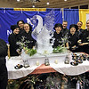Students and instructors form Nashoba Valley HS show off their table at the Taste of Nashoba event, L-R, Rebecca Metcalf, Shannon Benoint, Jayson Duchamre, Angela Constantine, Devin Carter, Chef Jeremy Bussire, Adam Serene, Chef Carley Capraro, Jenna Thompson and Jade Ashford.Nashoba Valley Voice Photo by David H. Brow
