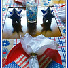 "July 2015<br /> <br /> ""STAR SPANGLED BANNER"" Theme<br /> <br /> ""The American flag is the symbol of our freedom, national pride and history."" ~ Mike Fitzpatrick<br /> <br /> The star shaped décor on each side of the centerpiece are Christmas tree ornaments, in case you haven't noticed, They were purchased during the holidays last year when I was leaning toward decorating our table royal blue, silver, and white. I purchased the Americana themed napkins in May of this year from one of our local Dollar General stores. The plates, placemats, napkins, napkin rings, and glass vase have all been featured in previous table settings.<br /> <br /> (table decorated and photographed with my cell phone on 7/8/2015)<br /> <br /> My Homepage:  <a href=""http://www.GodsChild.SmugMug.com"">http://www.GodsChild.SmugMug.com</a>"