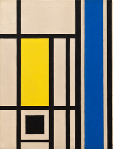 Version 1 marlow moss Untitled (White, Black, Blue and Yellow)