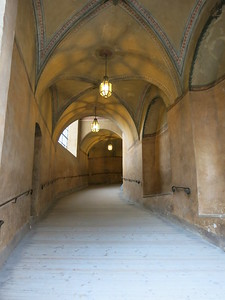 Entering the Baroque part of the castle @ Cesky Krumlov. Large enough for horse and carriage... or a car nowadays