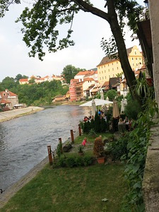 Restaurants at the border of the river @ Cesky Krumlov