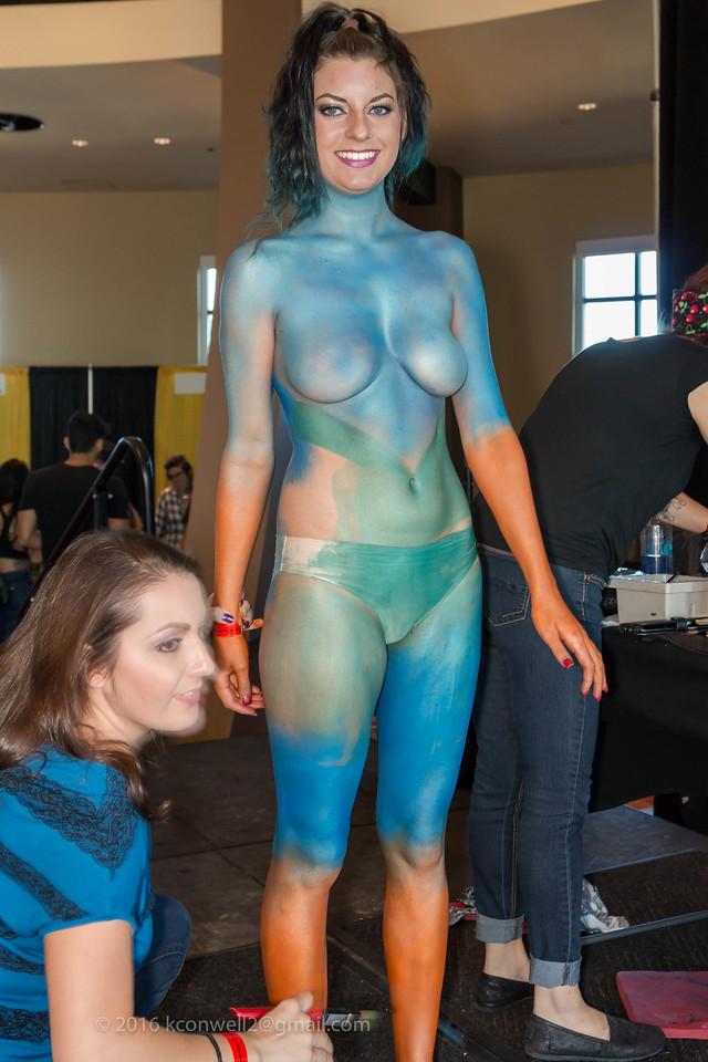 "Artist: Susan Gomez, Assisting Kailah Case Fri.,  Jennie Montoya Sat. Model:  "" Katie """