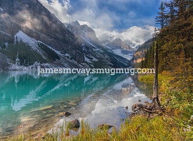 Early morning mist on Lake Louise