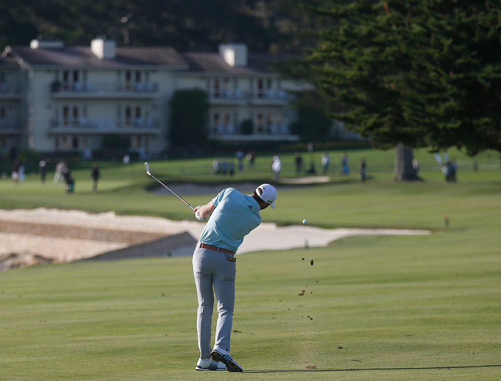 . Sebastian Cappelen shoot on the 18th fairway during the final round of the TaylorMade Pebble Beach Invitational golf tournament at Pebble Beach Golf Links on Sunday November 19, 2017. (David Royal/Herald Correspondent)